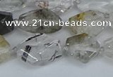 CNG7134 6*10mm - 10*14mm faceted nuggets green ghost quartz beads