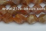 CNG7296 15.5 inches 8mm faceted nuggets sunstone beads