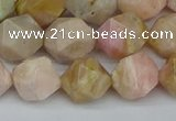 CNG7302 15.5 inches 10mm faceted nuggets pink opal gemstone beads