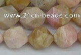 CNG7303 15.5 inches 12mm faceted nuggets pink opal gemstone beads