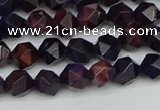 CNG7315 15.5 inches 6mm faceted nuggets purple tiger eye beads