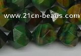 CNG7328 15.5 inches 12mm faceted nuggets green tiger eye beads