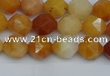 CNG7360 15.5 inches 6mm faceted nuggets yellow jade beads