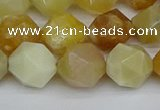 CNG7367 15.5 inches 10mm faceted nuggets yellow opal beads