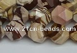 CNG7382 15.5 inches 10mm faceted nuggets zebra jasper beads