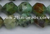CNG7388 15.5 inches 12mm faceted nuggets African turquoise beads
