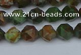 CNG7390 15.5 inches 6mm faceted nuggets green opal beads