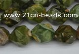 CNG7397 15.5 inches 10mm faceted nuggets rhyolite gemstone beads