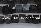 CNG7490 15.5 inches 8*8mm faceted nuggets black moonstone beads