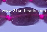 CNG7522 18*25mm - 25*35mm faceted freeform strawberry quartz beads