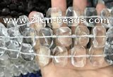 CNG7750 13*18mm - 15*25mm faceted freeform white crystal beads