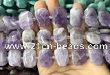 CNG7758 13*18mm - 15*25mm faceted freeform lavender amethyst beads