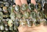 CNG7767 13*18mm - 15*25mm faceted freeform green garnet beads