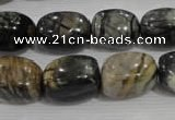 CNG777 15.5 inches 13*18mm nuggets black line jasper beads wholesale