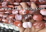 CNG7816 13*18mm - 18*25mm faceted freeform red agate beads