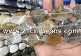 CNG7830 20*28mm - 25*35mm faceted freeform scenic quartz beads