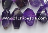 CNG7855 15.5 inches 8*12mm - 15*25mm faceted nuggets amethyst beads