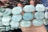 CNG7872 22*30mm - 28*35mm faceted freeform amazonite beads