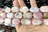 CNG7891 13*18mm - 18*25mm faceted freeform pink opal beads