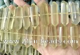 CNG7941 10*22mm - 12*45mm faceted nuggets lemon quartz beads