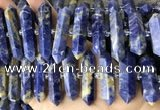 CNG7945 15.5 inches 10*22mm - 12*45mm faceted nuggets sodalite beads
