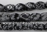 CNG820 15.5 inches 9*12mm faceted nuggets snowflake obsidian beads
