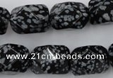 CNG834 15.5 inches 13*18mm faceted nuggets snowflake obsidian beads