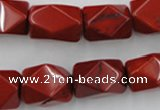 CNG839 15.5 inches 13*18mm faceted nuggets red jasper beads