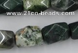 CNG845 15.5 inches 13*18mm faceted nuggets moss agate beads