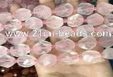 CNG8506 10*14mm - 13*18mm faceted nuggets rose quartz beads