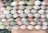CNG8516 15.5 inches 8*12mm - 10*15mm faceted nuggets morganite beads