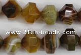 CNG854 15.5 inches 12*15mm faceted nuggets agate gemstone beads