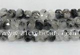 CNG8613 10*13mm - 12*16mm faceted freeform black rutilated quartz beads