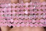 CNG8691 15.5 inches 8mm faceted nuggets rose quartz beads