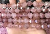 CNG8698 15.5 inches 12mm faceted nuggets strawberry quartz beads