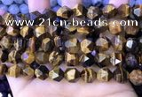 CNG8727 15.5 inches 12mm faceted nuggets yellow tiger eye beads