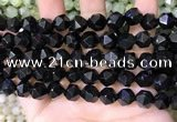 CNG8738 15.5 inches 10mm faceted nuggets black agate beads