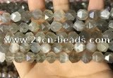 CNG8748 15.5 inches 10mm faceted nuggets grey moonstone beads