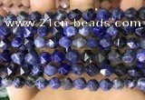 CNG8764 15.5 inches 8mm faceted nuggets sodalite gemstone beads