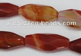 CNG880 15.5 inches 14*30mm faceted rice red agate nugget beads