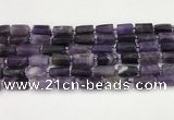 CNG8849 15.5 inches 8*12mm - 10*16mm nuggets matte amethyst beads
