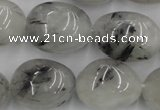 CNG887 15.5 inches 18*25mm nuggets black rutilated quartz beads