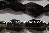 CNG904 15.5 inches 10*14mm – 14*25mm faceted nuggets smoky quartz beads