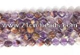 CNG9063 15.5 inches 10mm faceted nuggets purple phantom quartz beads