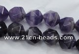 CNG930 15 inches 12mm faceted nuggets amethyst gemstone beads