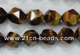 CNG938 15 inches 12mm faceted nuggets yellow tiger eye beads