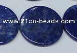CNL1281 15.5 inches 30mm flat round natural lapis lazuli beads