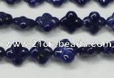 CNL1305 15.5 inches 10mm carved flower natural lapis lazuli beads