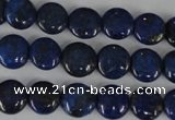 CNL451 15.5 inches 10mm flat round natural lapis lazuli beads