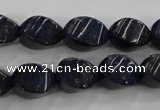 CNL920 15.5 inches 10*14mm twisted rice natural lapis lazuli beads